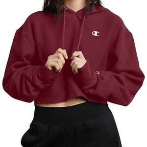 Champion Maroon Cropped Hoodies Sweater